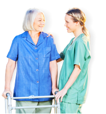 senior woman is happy with her caregiver