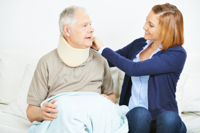 nursing service checking ruff of senior men in nursing home